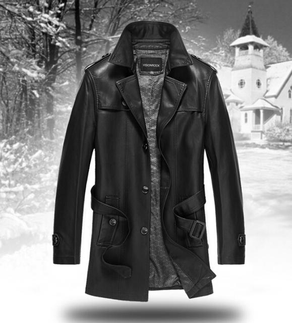 Hot 2016 кожа мужская куртка мужская одежда средний x-долго плащ свободного покроя овчины кожаный плащ / M-4XL