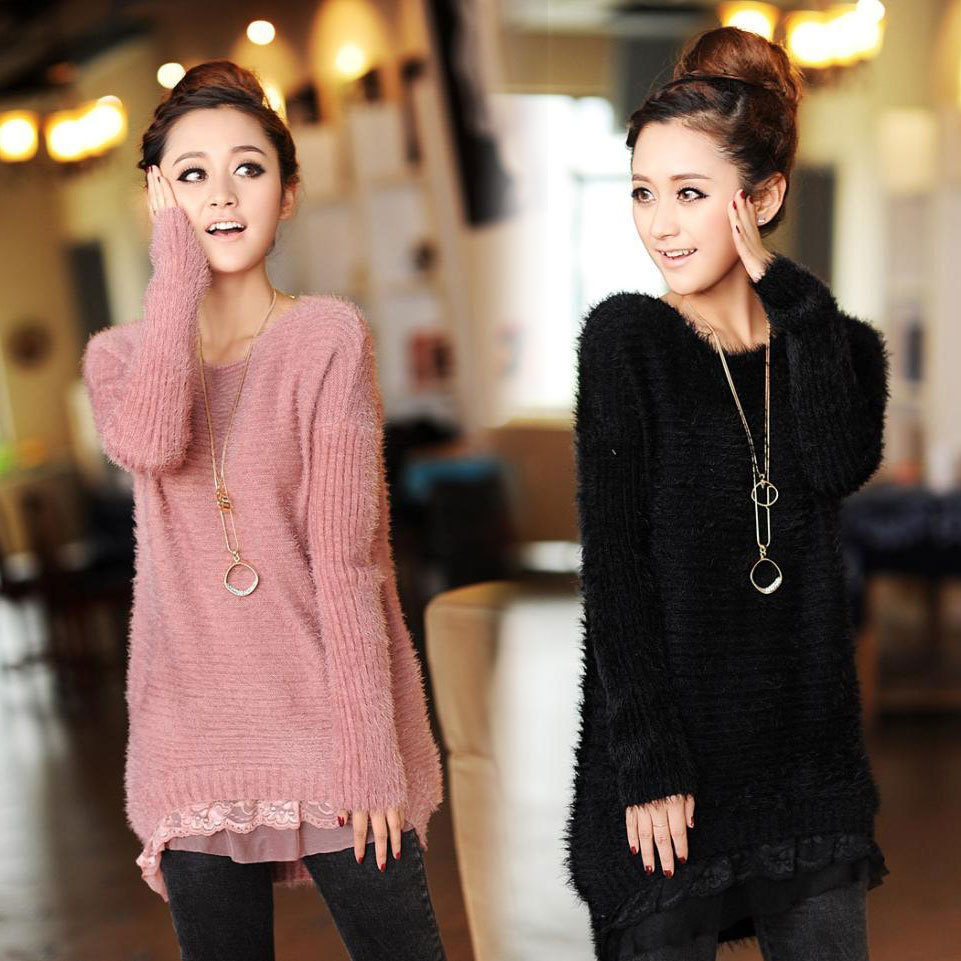 New 2015 Fashion medium-long women's outerwear basic pullover loose casual lace sweater female clothing sweater women REX-D5940(China (Mainland))