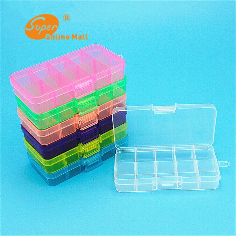 1pcs new adjustable plastic 10 compartment storage box for Craft storage boxes with compartments