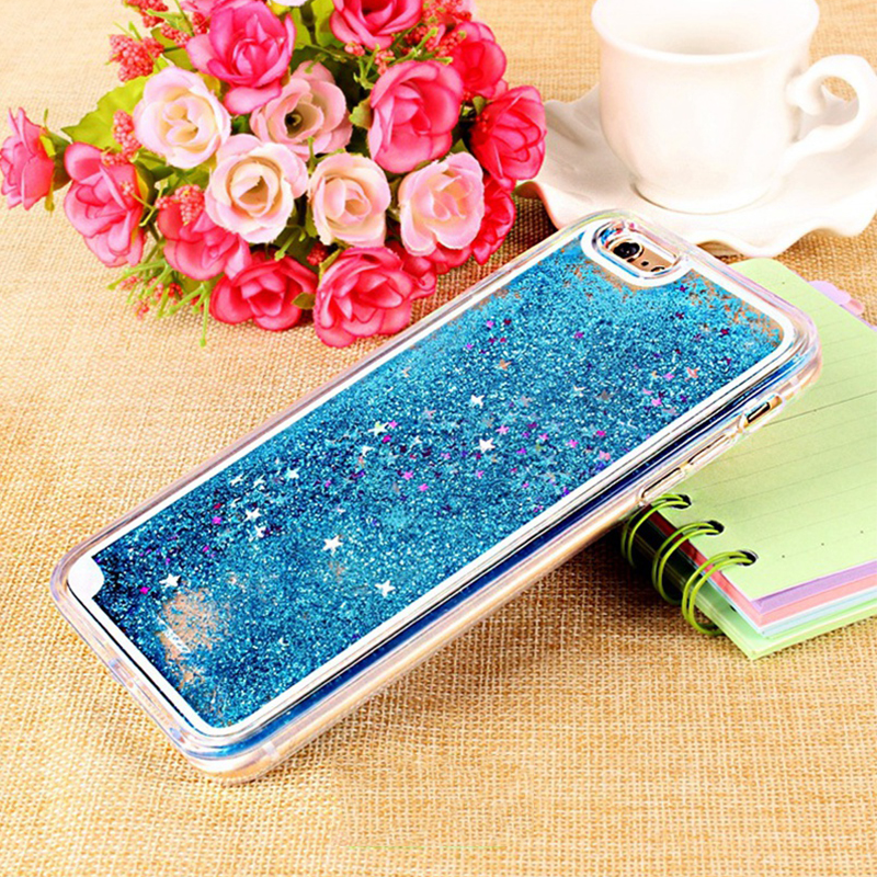 "For Apple iPhone 6 6s 4.7"" Plus 5.5"" 5S SE Dynamic Liquid Clear Glitter Bling Star Case Hard Meteor Twinkling Cover Phone Cases(China (Mainland))"