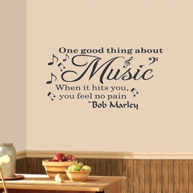 Wall Quote Decal Vinyl Sticker Art Bob Marley Music Makes You Feel No Pain Party Sticker Decor(China (Mainland))
