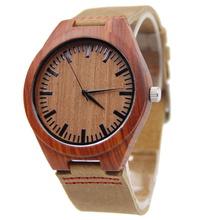Excellent quality new arrival quartz-watches wristwatches leather bamboo wooden watches for men and women christmas gifts