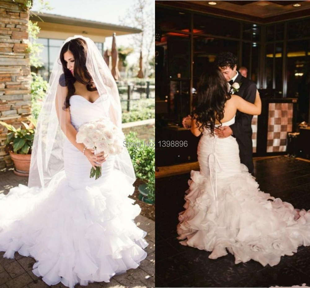 Plus size wedding dresses white flouncing trumpet custom for Off white plus size wedding dresses