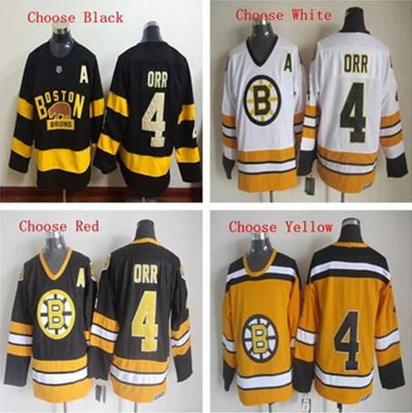 Hot sale! Men's Bruins #4 Bobby Orr high quality embroidery Hockey Jerseys(China (Mainland))