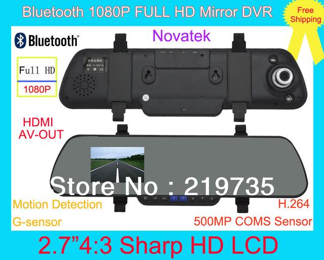 Novatek 500Mega Pixel COMS Bluetooth Car Vehicle Mirror DVR Camera FULL HD FHD 1080P with G-sensor,Motion Detection,HDMI,AV-OUT