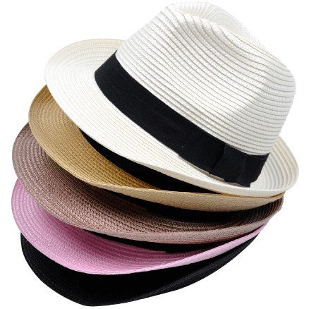 new 2014 Unisex fashion jazz bowler sun hat, short-brimmed , PP material straw beach leisure caps, multi-color, free shipping