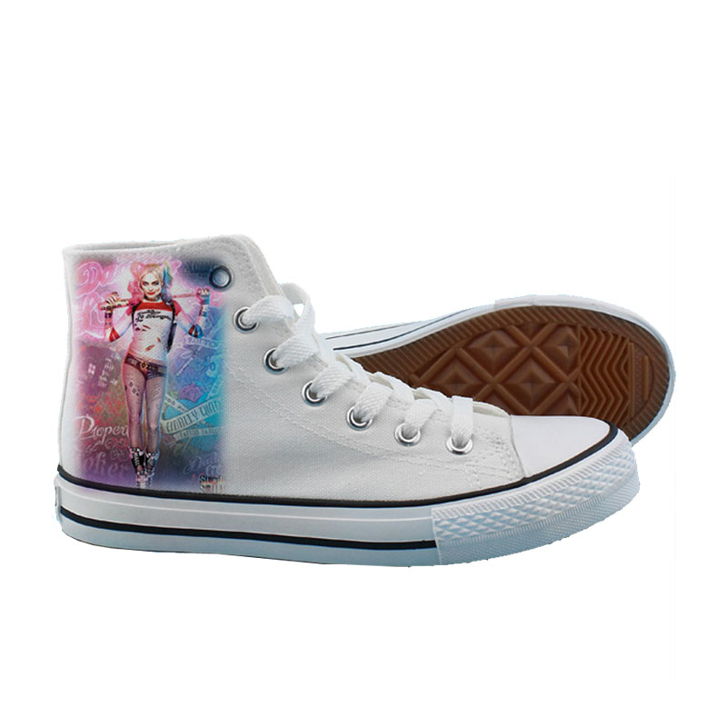 Cosworld Suicide Squad Canvas Shoes Women Casual High-Top Star Flat ShoesPrinting Shoes Harley Quinn Joker Leisure Shoes