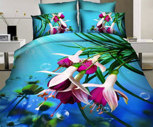 Hot Sale 3D Flowers Printed 100% Cotton Bedding Set Duvet Cover Bed Sheet Pillowcases Wedding Bed Linen 1.5m 1.8m 4pcs/set(China (Mainland))