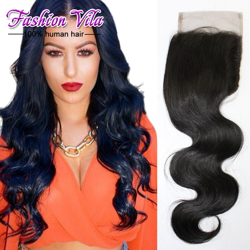 7A Brazilian Virgin Hair Body Wave Lace Closure Bleached Knots 4x4 Brazilian Lace Frontal Closure Free Middle 3 Part Closures<br><br>Aliexpress