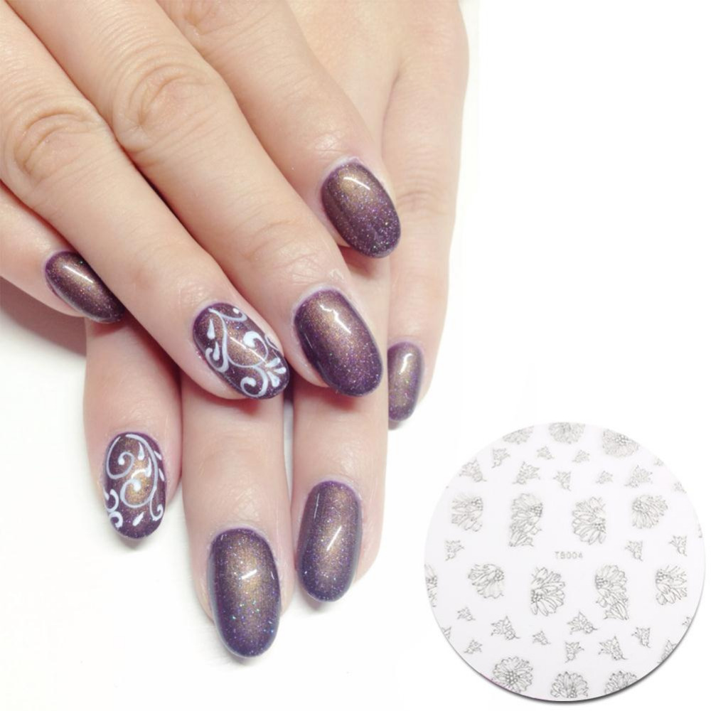 New Fashion Women Silver 3D Flower Butterfly Nail Art Stickers Decals Beauty Decals Sexy Figure Image(China (Mainland))