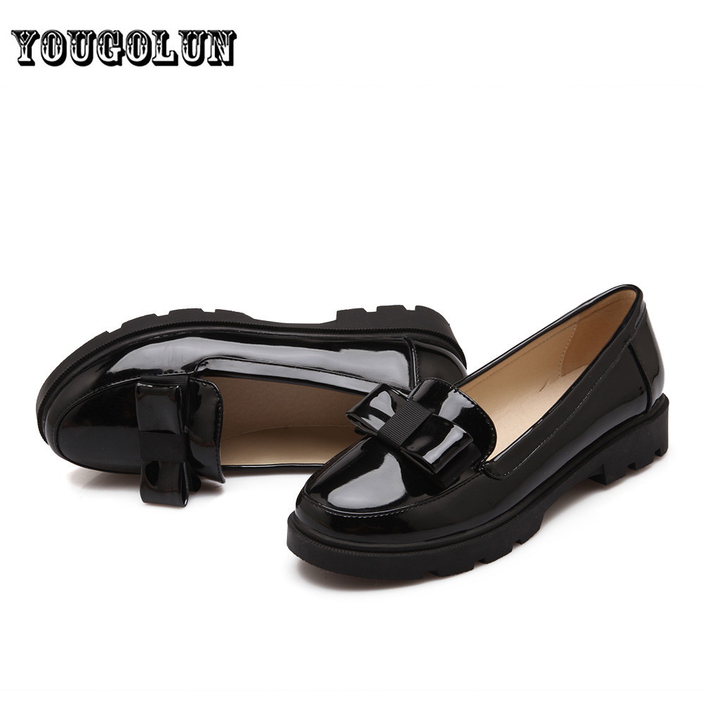 Sexy patent PU flat platform women shoes 2016 woman sping autumn black beige pink round toe flats fashion Casual bowtie shoes