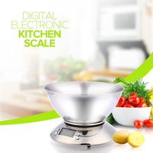 Buy Cooking Tool Stainless Steel Electronic Weight Scale Food Balance Cuisine Precision Kitchen Scales Bowl 5kg 1g for $19.28 in AliExpress store