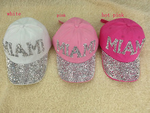 DHL/UPS Wholesale high quality cotton women diamond cap men MIAMA rhinestone baseball cap snapback hat 20pcs/lot free shipping(China (Mainland))