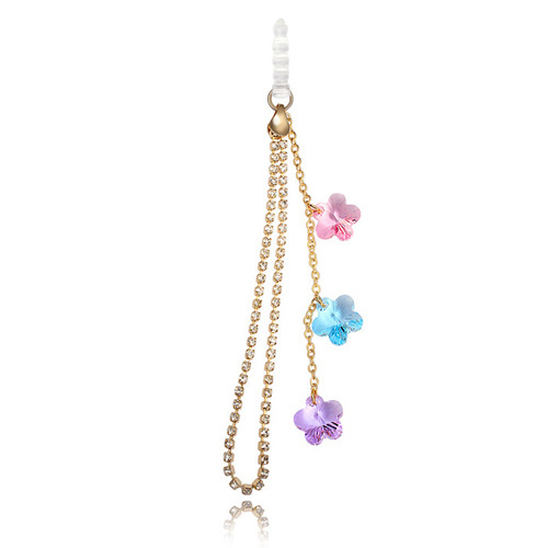 Top Sale Dust Plug Crystal Cell Flower Phone Chain Fashion Cell Phone Accessorie Original Swarovski Elements Colorful 18K Gold(China (Mainland))