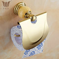 62 Jade Series Golden Polished Brass With Jade Toilet Paper Holders Bathroom Accessories Paper Shelf Toilet