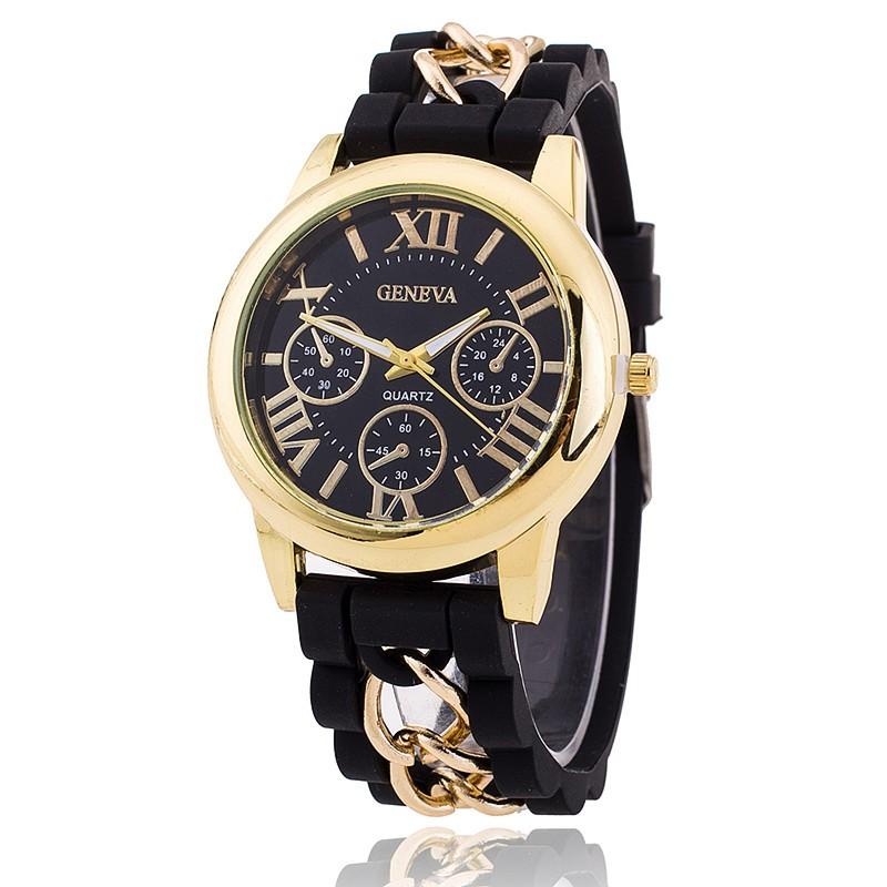 Hot Fashion Silicone Geneva Watches Fashion Women Chain Watch Ladies Dress Wrist Watches Relogio Fem