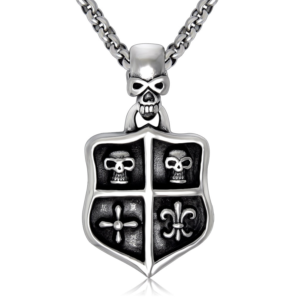 stainless steel cross pendants for men Shield shape skull fleur de lis pendant titanium(China (Mainland))