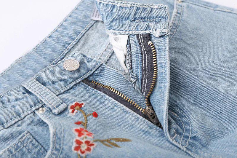 Скидки на Европа осень 2016 новая женская мода все матч мыть старый вышивка ноги высокой талией джинсы брюки