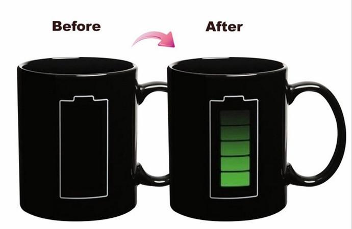 Free Shipping Heat Sensitive Battery Color Changing Mug Magical Chameleon Coffee Cup Temperature Sensing Mug 300ML(China (Mainland))