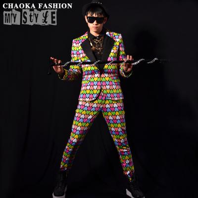 Costume Homme 2015 Heart Print Mens Candy Color Suit Jacket Men Slim Fit Kingsman New Men Erkek