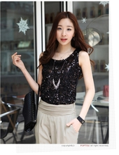 Camis Tank Tops Sequinied Short Solid Brand New Fashion Summer Style Woman Plus Size Top Free Shipping(China (Mainland))