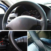 Leather Steering Wheel Cover For Car Truck  With Needles and Thread Black New Arrival 2015