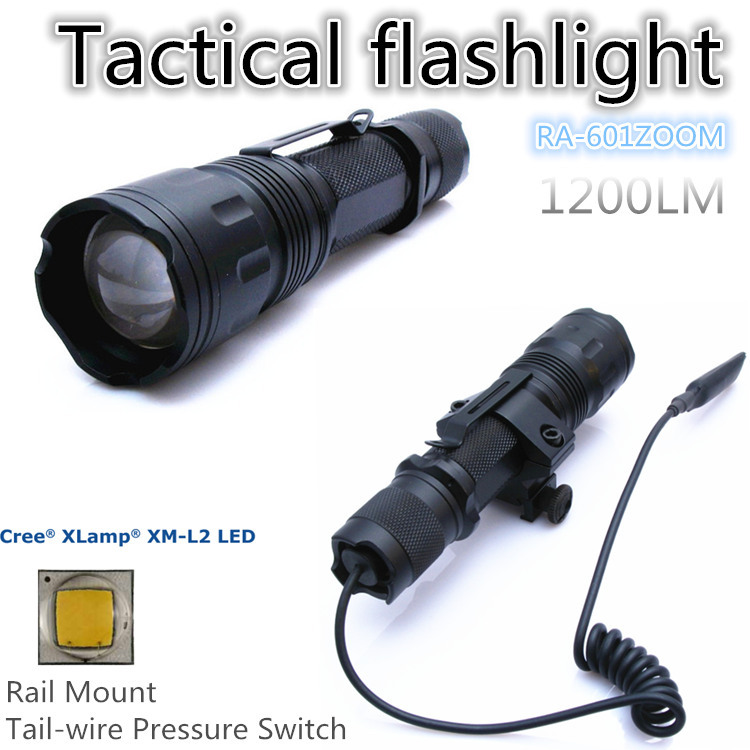 RA-601ZOOM[TTWS] CREE XM L2 U2 COOL WARM WHITE torch Tactical Flashlight power 18650,with Rail Mount,Tail-wire Pressure Switch - QIHANG fashion shop store