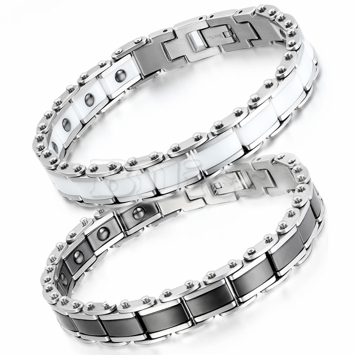 20cm Stainless Steel Black White Ceramic Bracelet Bioenergy Bangle Magnetic Germanium Health Jewelry For Men pulseira masculina(China (Mainland))