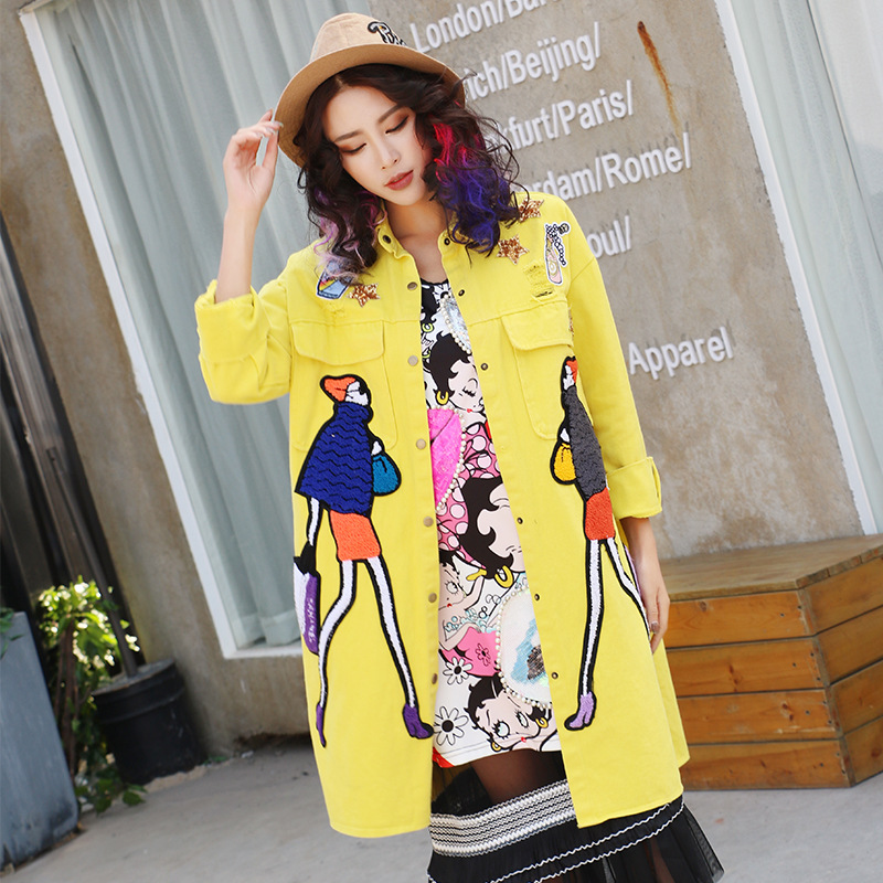 Women'S Trench Coat Spring Yellow Denim Overcoat Sequins Patch Hole Outerwear Long Loose Female Gilrs Punk Windbreaker