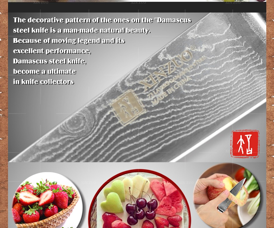 """Buy XINZUO 3.5"""" inch fruit knife Damascus kitchen knives paring knife senior  kitchen too damascus steel  parer knife FREE SHIPPING cheap"""