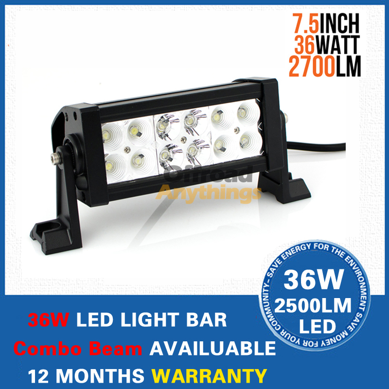 7.5 inch 36W 12V 24V Offroad LED Light Bar Heavy Duty Road Work Lamp Spot Flood Combo Beam Pattern - 4x4 Auto Store store