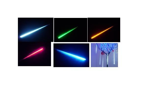LED Meteor shower light;one set with 5pcs tube, include the power supply and connectors;each tube:dia26mm*L300mm;64pcs leds/pc
