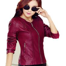 Plus Size Women Pu Leather Short Slim Jacket Round Neck Zipper Coat Female Outerwear 2016 New Fashion Jacke M-5XL ZP516
