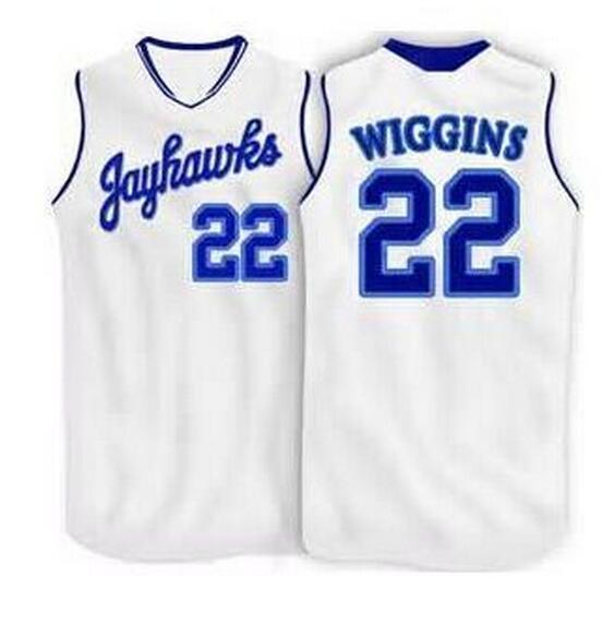 #22 Andrew Wiggins jerseys Kansas Jayhawks Basketball Jersey White,Blue,Custom Any Size,Throwback Stitched Basketball Jersey(China (Mainland))