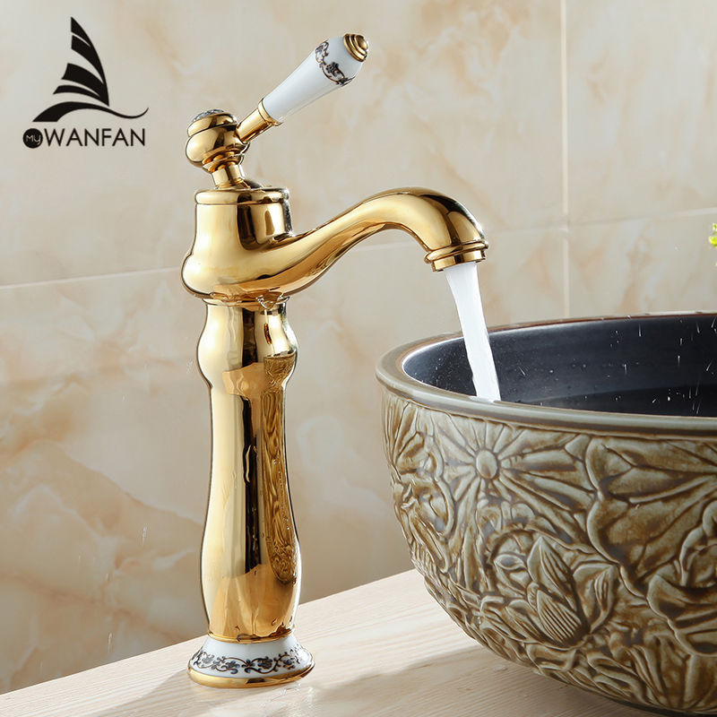 Free shipping golden blue and white porcelain bathroom faucet basin mixer single handle hot and for White porcelain bathroom faucets