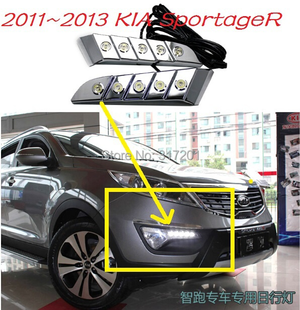 Free shipping!2011~2013 KIA SportageR LED daytime running light,2pcs/set+wire of harness;15W 12V,6000K~7000K,super good quality!<br><br>Aliexpress