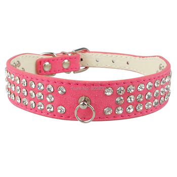 Rhinestone Dog Collar Fashional 3Rows Suede Leather  Diamante Cat Puppy Collars 5Colors Black, Blue, Red, Pink, Rose