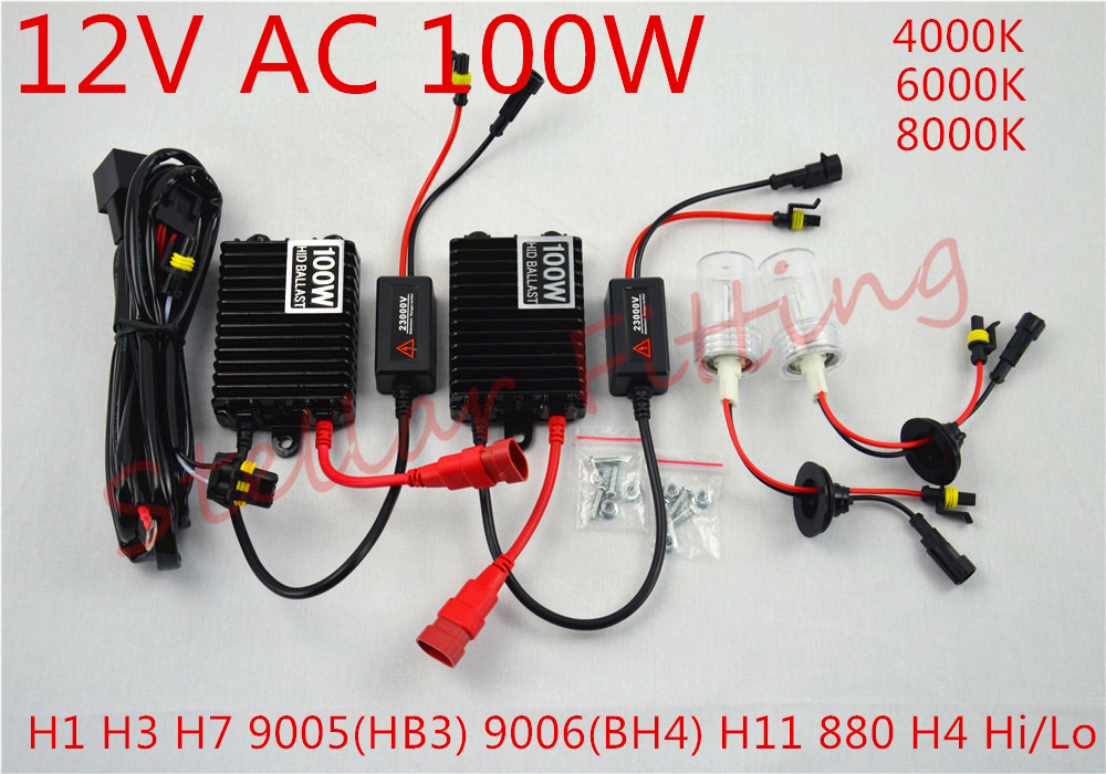 100W 12VAC HID xenon lamp H1 H3 H7 9005HB3 9006HB4 H11 880 H4-2 4000K 6000K 8000K (1X2 75W HID) (1X275W xenon bulb)(China (Mainland))