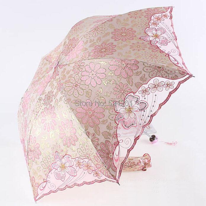 High Quality UV Umbrella Fold Umbrellas Embroidered Flowers Rich Jacquard Silk Craft Umbrella Pink(China (Mainland))