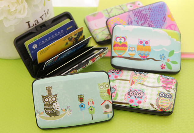Free shipping 6Styles Owl Card Bag 7 Pockets Plastic Box Cards Holder BAG Case BUS/ID/Credit/Bank Cards Case Bag Card Case Walle(China (Mainland))