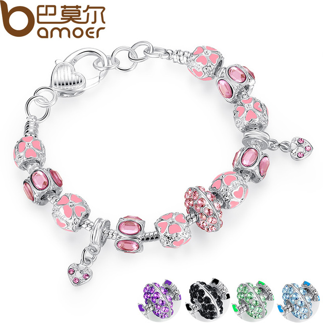 2016 NEW Winter Collection Silver Charm Bracelet for Women With Pink Crystal Murano Glass Beads PA1400