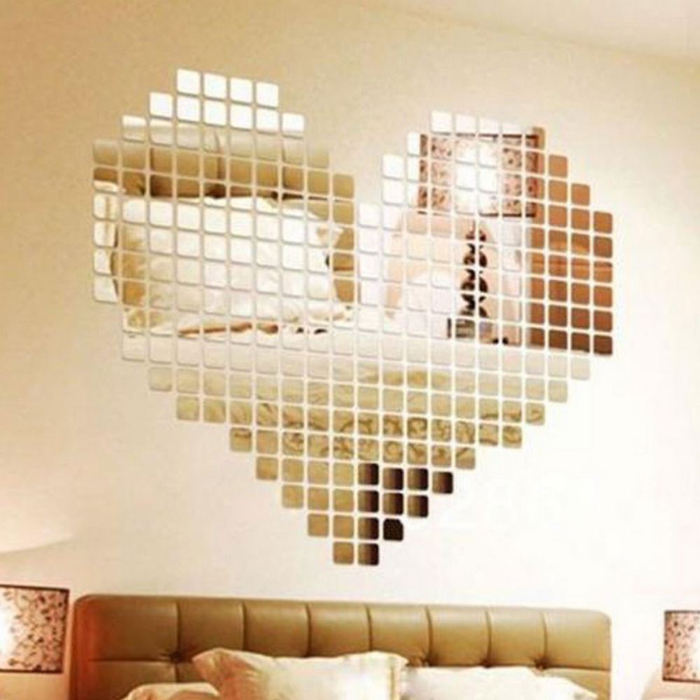100 Piece Self-adhesive Mirror Tile 3D Wall Sticker Decal Mosaic Room Decor Stick On Modern Self-adhesive Mirror Tiles Stickers(China (Mainland))
