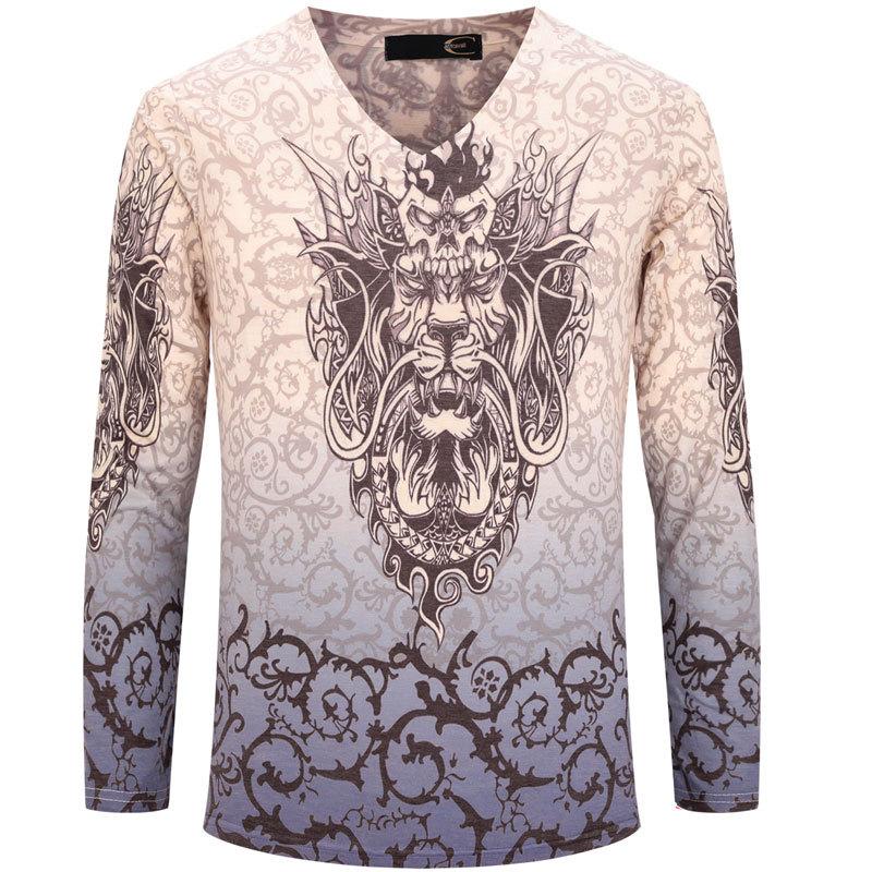 Cool Design Leo Printed T Shirt Men 2015 New Autumn Mens