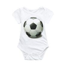 Черный футбольный комбинезон с принтом «love football» для новорожденных девочек и мальчиков, спортивный костюм из чистого хлопка, легко чиститс...(China)