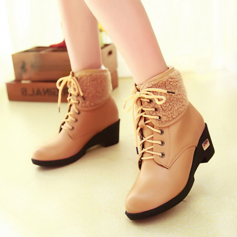 Fashion Brand Ankle Boots Autumn Winter Genuine Leather Women Plush Warm Shoes Plus Size 34-42 - Happy hour 100% store