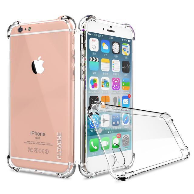 FLOVEME Прозрачный Анти Стук Мягкие TPU Silicone Case For iPhone 7 6 6 s Плюс Samsung Galaxy S7 S7 Edge Случаях Crystal Clear крышка