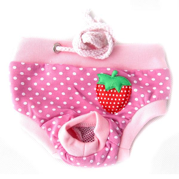 Female Pet Dog Puppy Sanitary Lovely Pant Short Panty Striped Diaper Underwear Large