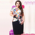 Women Plus Size 2 Piece Set 6XL Fashion Elegant Floral Print Vintage Belted Bow Knot Shirt