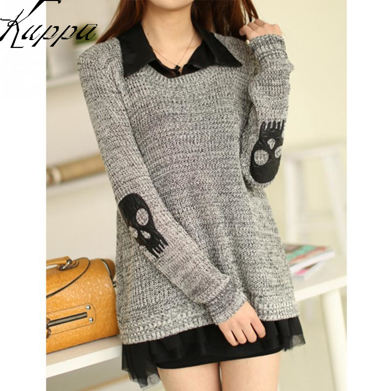 Women Fashion Skull Applique Two-piece Sweater Stitch Knitted Chiffon Pullover O-Neck Long Sleeve Ladies Formal Business Cloth(China (Mainland))