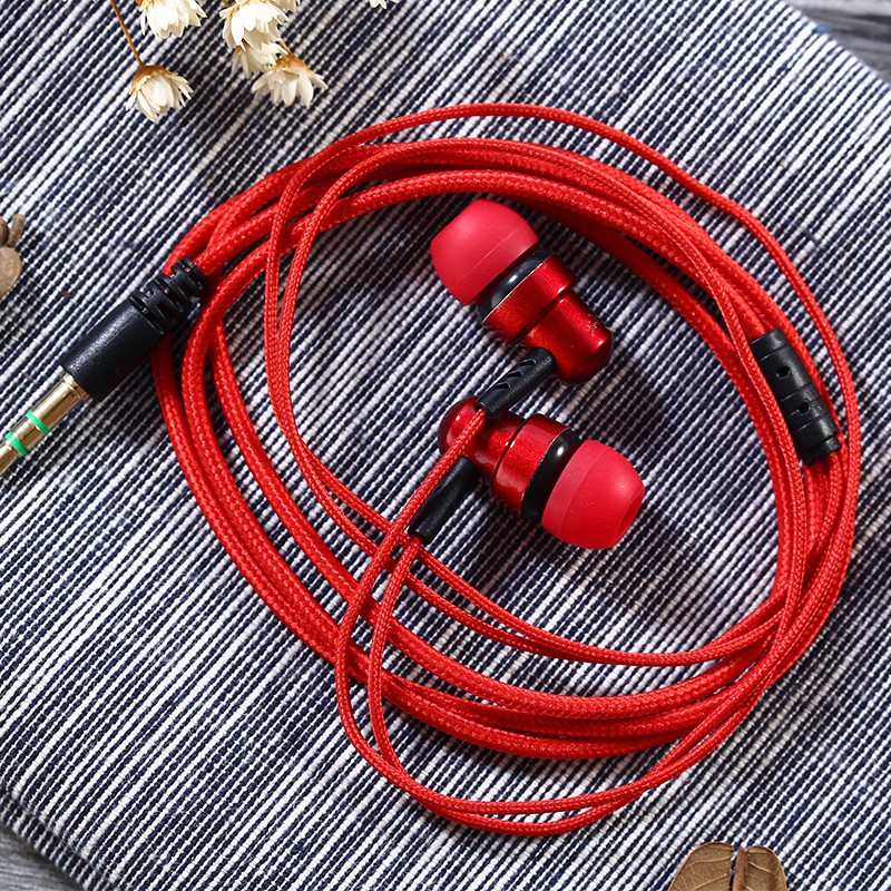 3.5mm In-ear Braided Cord Earbuds No-Mic Bass Stereo Music Subwoofer Headset